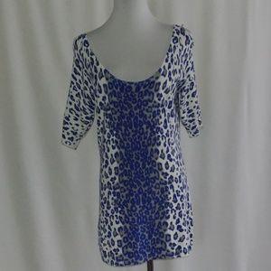 Cache Blue Cheetah Print Sweater